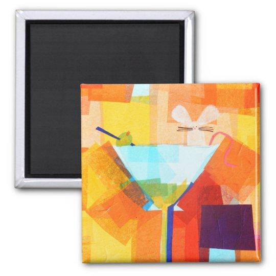 Martini Mouse Square Magnet