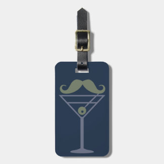 Martini Moustache custom luggage tag
