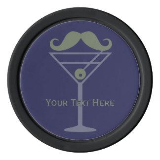 Martini Moustache custom poker chips