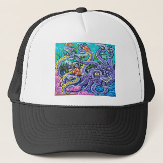 martini octopus trucker hat