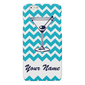 Martini Pictogram with Blue Chevron Pattern iPhone 6 Plus Case