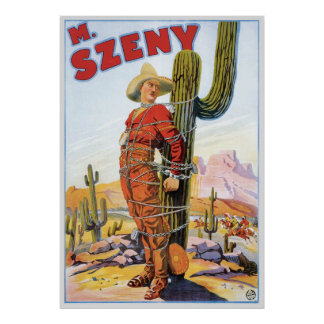 Martini Szeny ~ Vintage Cowboy Wonder Magic Act Poster