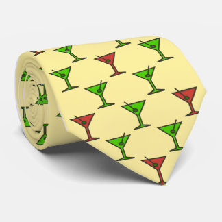 Martini Time Christmas Cocktail Single-Sided Tie