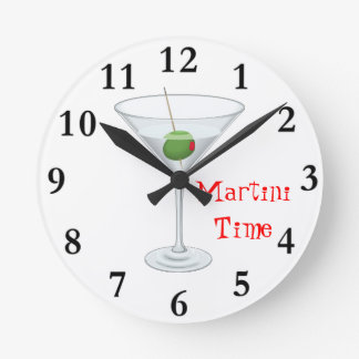 Martini Time Cocktail Glass with Olive Happy Hour Wall Clocks
