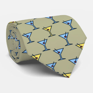 Martini Time Fifties Cocktail Khaki Two-sided Tie