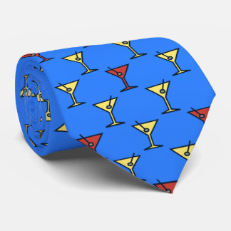 Martini Time Fifties Cocktail Ocean Blue Two-sided Tie