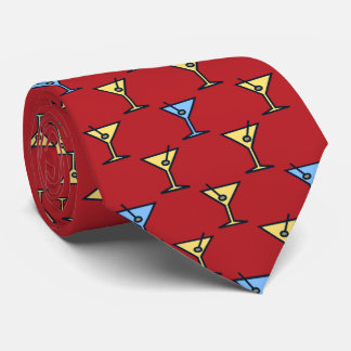 Martini Time Fifties Cocktail Red Two-sided Tie