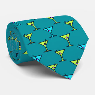 Martini Time Fifties Cocktail Teal Two-sided Tie