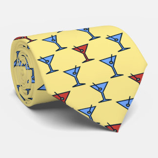 Martini Time Fifties Cocktail Yellow Two-sided Tie