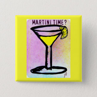 MARTINI TIME LEMON DROP PASTEL PRINT by jill 15 Cm Square Badge