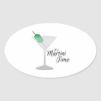 Martini Time Oval Sticker
