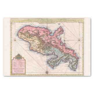 Martinique French Territory Vintage Old World Map Tissue Paper