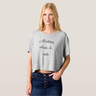 Martinis, Olives & Cats Crop Top