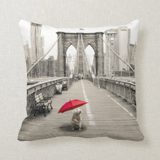 Marty Mouse in Brooklyn Bridge Pillow