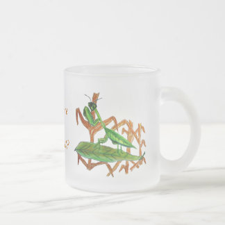 Marty the Praying Mantis Frosted Glass Mug