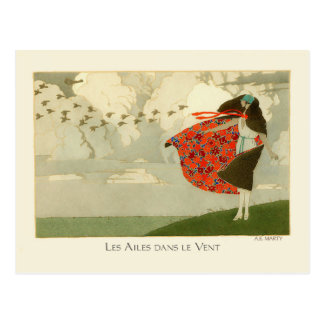 Marty Vintage Art Deco Fashion Wings in the Wind Postcard