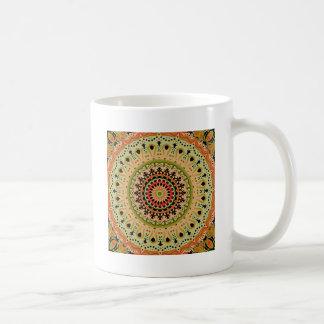Marty Vintage Orange and Tan Kaleidoscope Basic White Mug