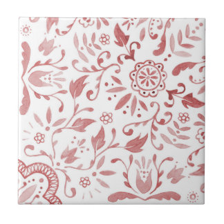 Marvellous Vintage Red Pattern Ceramic Tile