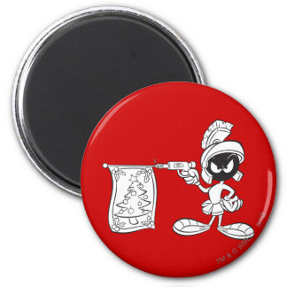 MARVIN THE MARTIAN™ Christmas Tree Pop Gun 6 Cm Round Magnet