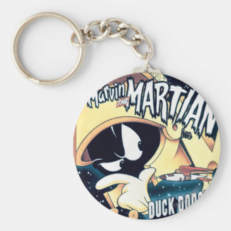 MARVIN THE MARTIAN™, DAFFY DUCK™ and Elmer Basic Round Button Key Ring