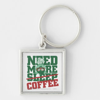 MARVIN THE MARTIAN™ - Need More Coffee Silver-Colored Square Key Ring