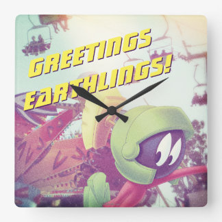 MARVIN THE MARTIAN™ On Vacation Square Wall Clock