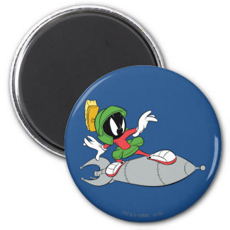 MARVIN THE MARTIAN™ Riding Rocket 6 Cm Round Magnet