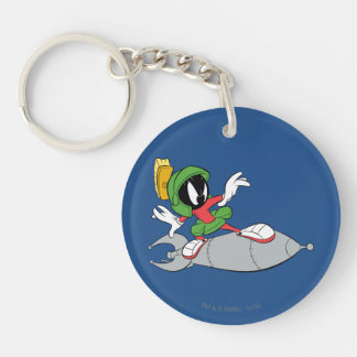 MARVIN THE MARTIAN™ Riding Rocket Double-Sided Round Acrylic Key Ring