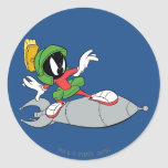 MARVIN THE MARTIAN™ Riding Rocket Round Sticker