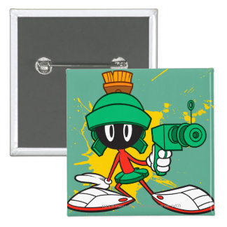 Marvin With Gun 15 Cm Square Badge