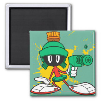 Marvin With Gun Square Magnet