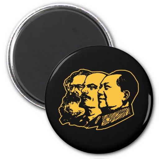 Marx Lenin Mao Portrait 6 Cm Round Magnet