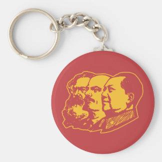 Marx Lenin Mao Portrait Basic Round Button Key Ring
