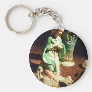 Mary and Baby Jesus Basic Round Button Key Ring