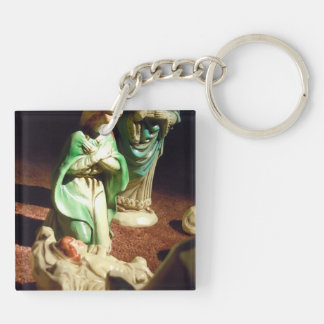 Mary and Baby Jesus Double-Sided Square Acrylic Key Ring
