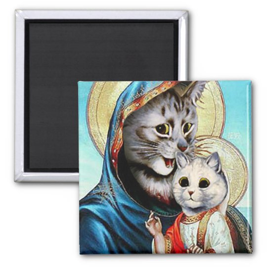 Mary and Baby Jesus Kitties Magnet