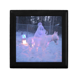 Mary And Baby Jesus Night Snow Winter Sculpture Small Square Gift Box