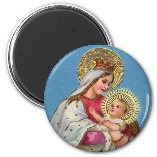 Mary and Baby Jesus Vintage Christmas Magnet