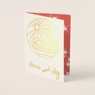 Mary and Baby_Peace and Joy Christmas foil card