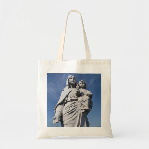 Mary and child statue canvas bag