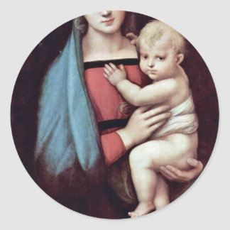 Mary And Christ Child By Raffael Best Quality Round Stickers