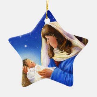 Mary and Jesus Star Ceramic Ornament