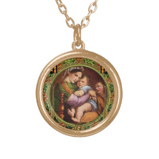 Mary And Jesus With Holly Gold Plated Necklace