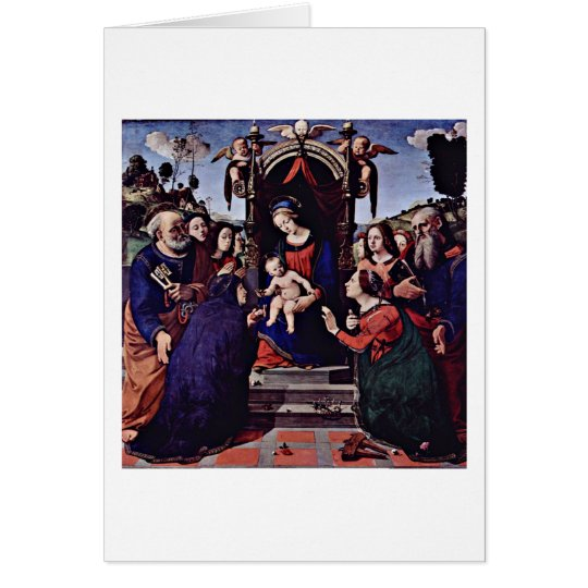 Mary And The Child Angels By Piero Di Lorenzo Card