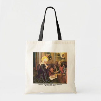 Mary And The Passion Altar Wing: The Nativity Budget Tote Bag