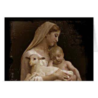 Mary Baby Jesus and Lamb Greeting Card
