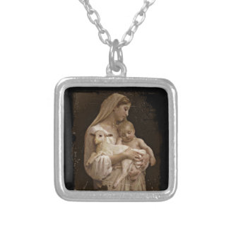 Mary Baby Jesus and Lamb Silver Plated Necklace