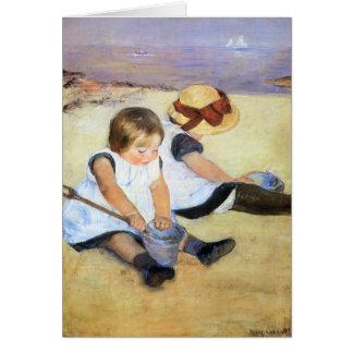 Mary Cassatt Children Playing on the Beach Card