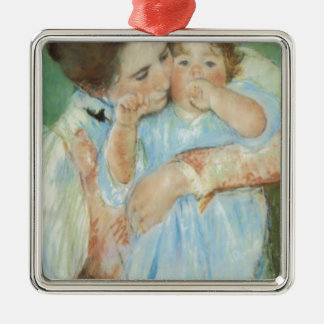 Mary Cassatt Mother and Child Mother's Day Card Silver-Colored Square Decoration