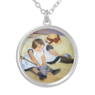 Mary Cassatt Playing on the Beach Necklace